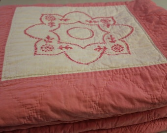 Pink Quilt, Embroidered, Quilt