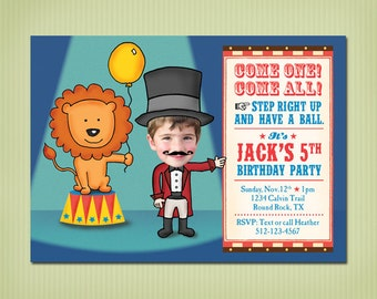 digital circus birthday invite