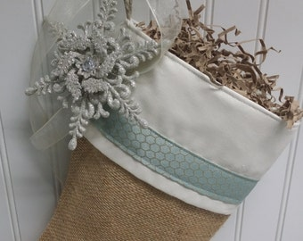 Snowflake and blue on burlap stocking