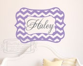 Chevron name decal - Personalized name decal -baby nursery wall decal-  CHEVRON vinyl wall decal