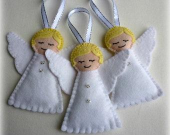 3 Felt Angel Handmade Ornaments