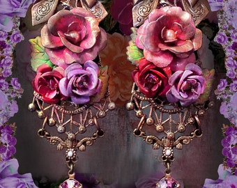 Long Hand-Painted Victorian Rose Earrings, Ornate Shabby-Chic Floral Earrings, Lavish Pink & Purple, Beautiful Feminine Floral Jewelry