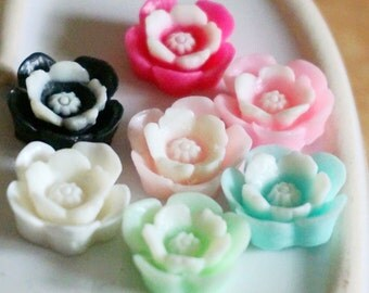 14pcs 16mm  Resin Flower   Cabochon Cameo Covers