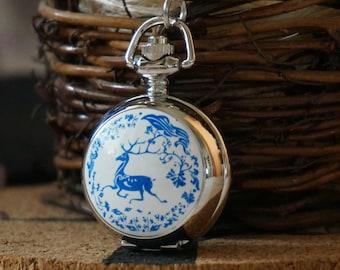 2pcs 27mm Silver Color  Plate Enamel Pocket Watch Charm Pendant  Deer