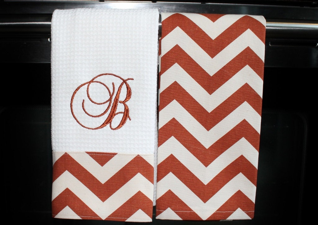 Monogrammed Kitchen Towels Or Hand Towels In Rust Natural
