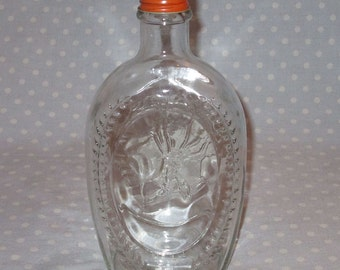 Vintage Log Cabin Syrup Bottle with Indian Head and Orange Cap