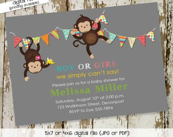 monkey baby shower invitation gender neutral gender reveal couples coed diaper sprinkle bring a book (item 1423) shabby chic invitations