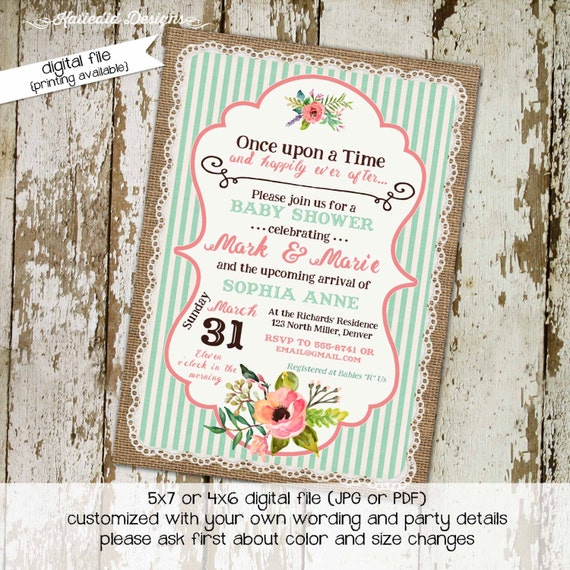 once upon a time baby girl shower invitation bridal burlap coral mint