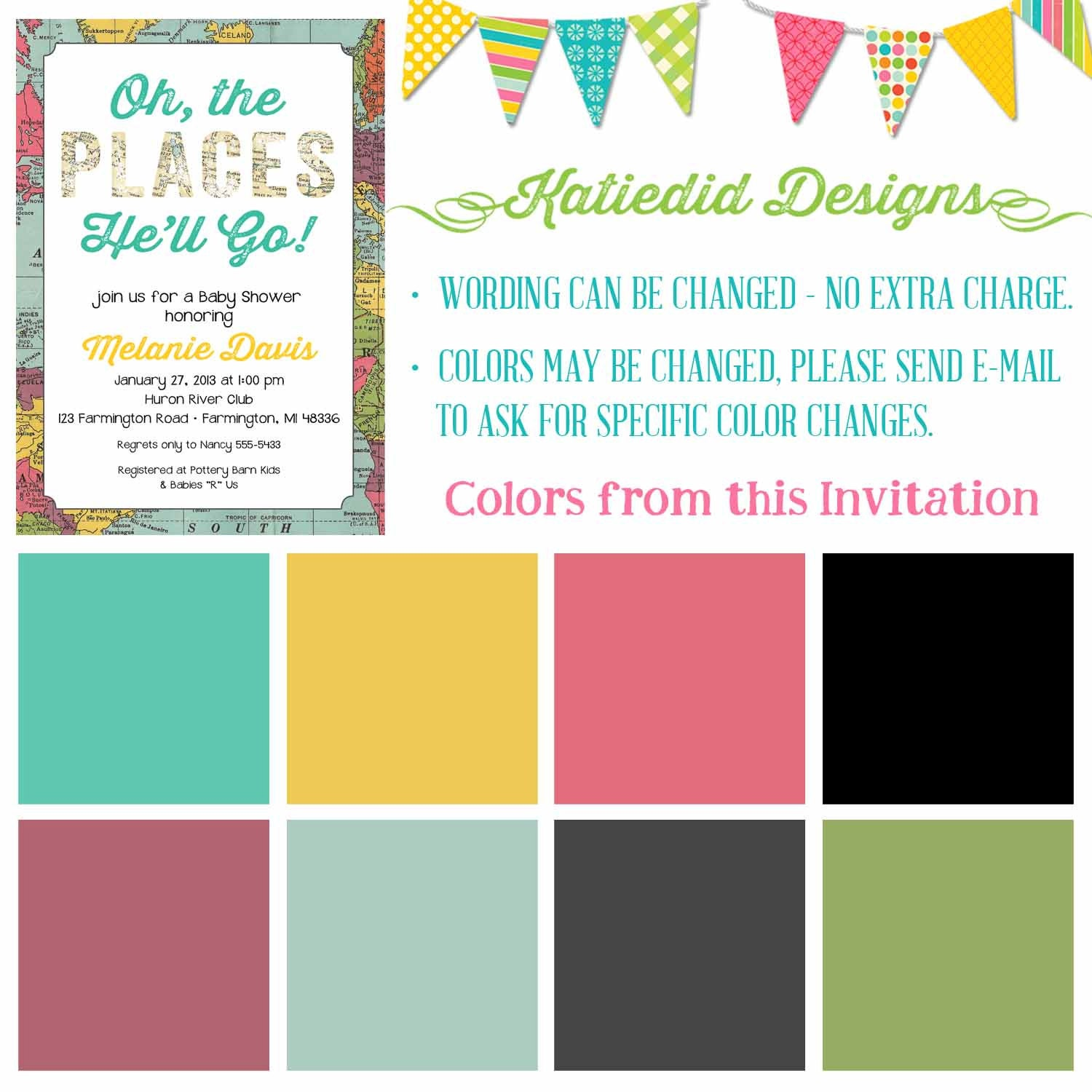 Oh The Places You Will Go Invitation Map Travel Baby Shower Retirement Bridal Shower Couples World Travel Bash You Ll He Ll She Ll Item 1294