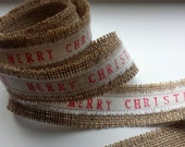 Custom burlap ribbon. Merry Christmas ribbon, christmas ribbon, Christmas gift wrap ribbon, custom ribbon