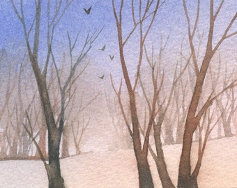 Winter's gone - Original ACEO watercolor painting