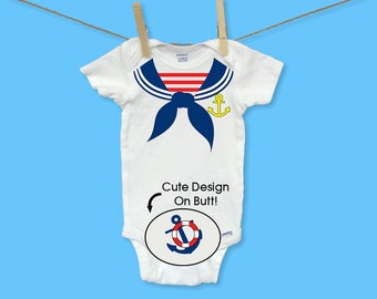 Sailor Navy Baby Boy ONESIES ® Shirt Nautical Anchor Costume