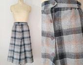 1960s Grey Plaid Wool Skirt // Vintage 60s A-Line Skirt // Small Medium