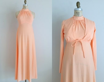 Vintage 1960s Maxi Dress with Matching Cropped Jacket / Peach / Size 6/8