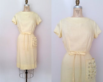Sidecar Dress / Vintage 1960s Tie Waist Dress / Yellow Linen Shift Dress / Small Medium