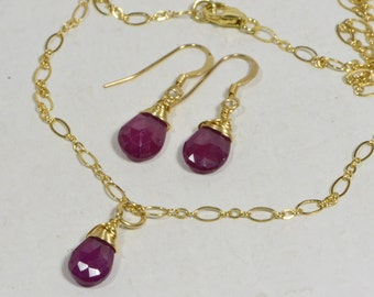Natural Ruby Wire Wrapped Handmade Jewelry 14K Gold Filled Wire Birthstone Jewelry Birthday July