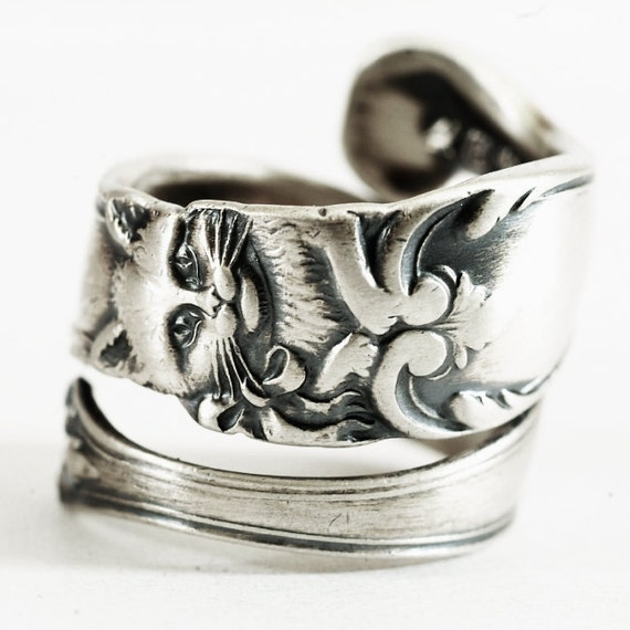 silver cat ring sterling silver spoon ring ring