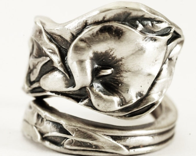Calla Lily Ring, Sterling Silver Spoon Ring, Floral Wedding Ring, Lily Ring, Calla Lilly, Botanical Ring, Flower Ring, Adjustable Ring, 1367