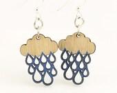 Rain Cloud Blossoms - Wood Earrings