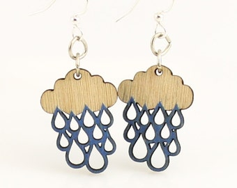 Rain Cloud Blossoms - Wood Earrings