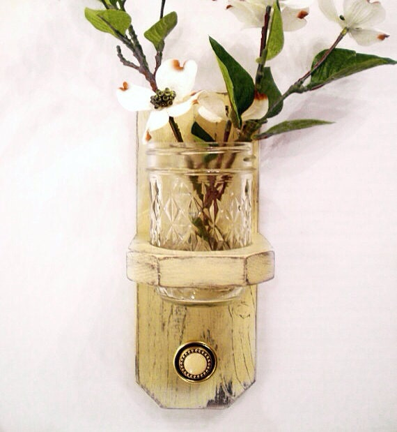 Cottage Styled Wood Wall Hanger with Antique Styled Knob, Shabby Chic / French Country-Creamy Yellow