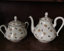 Vintage French Limoges Tea Pot and Biscuit Jar circa 1940's / English Shop