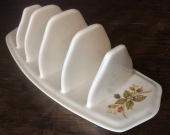 Vintage English Berry Off White Ceramic Toast Rack Letter Note Document Rack circa 1960-70's / English Shop