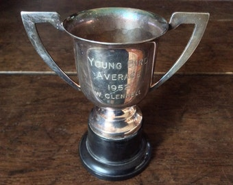 Vintage English Engraved Medium Trophy Cup Goblet Young Bird Average 1952 W. Clennell / English Shop