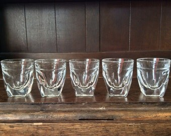 Vintage French Bar Heavy Glass Shot Glasses Set of 5 circa 1960's / English Shop