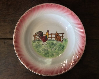 Vintage French Chicken Soup Large Bowl Dish Plate circa 1950's / English Shop