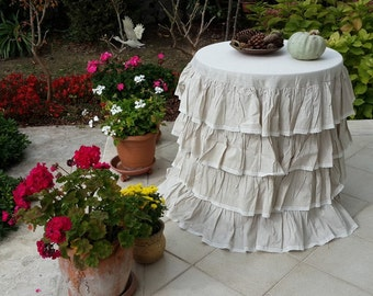Rustic Country Wedding Custom Tablecloth Waterfall 4 Rows Ruffled Tablecloth  Oatmeal Shabby Chic Ivory Lace Table