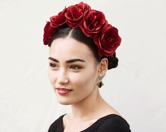 Red Rose Flower Crown - Red Flower Crown, Rose Crown, Red, Frida Kahlo, Day of the Dead, Mexican, Fiesta, Rose Headband, Red Rose, Gift Idea