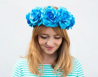 Turquoise Blue Rose Crown - Burning Man, Blue Flower Crown, Frida Kahlo, Coachella Hair, Flower Crown, Turquoise, Blue, Rose Crown, Crown