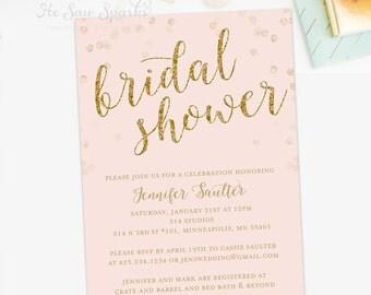 Gold Bridal Shower Invite - Printable - Glitter - Glam
