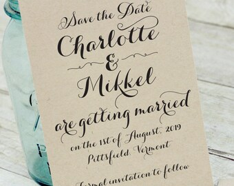 Simply Country Rustic Save The Date - DIY - Printable - Bohemian, woodland, rustic, barn wedding, country, shabby chic