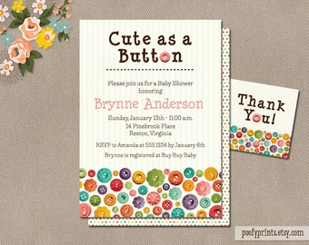 Cute as a Button Baby Shower Invitations - DIY Printable Invitations - FREE Matching Favor Tags - Brynne Collection