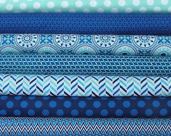 Singin' the Blues Half Yard Bundle of 9 in Blues by Camelot Design Studio - LAST ONE