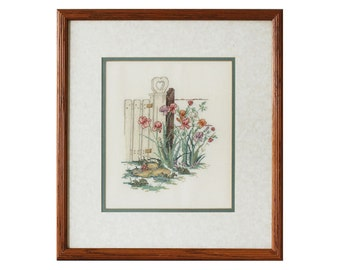 Oak Custom Framed Surface Embroidered Floral