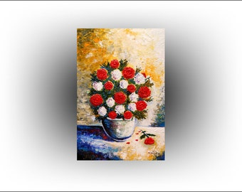 Flowers Red Roses Impasto Painting - 24 x 36 - Skye Taylor