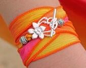 The Maui Bracelet - Silk Ribbon Wrap Charm Bracelet - Yoga Wrap Summer Island Surfer Jewelry Hibiscus Flower - Choose From 18 Ribbon Colors