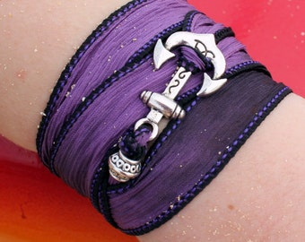 Anchor Silk Ribbon Wrap Bracelet - 18 ribbon colors to choose from - Bohemian Sailor Jewelry - Hypoallergenic Unique Gift Idea