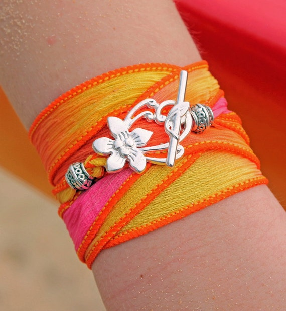 The Maui Bracelet - Silk Ribbon Wrap Charm Bracelet - Yoga Wrap Summer Island Surfer Jewelry Hibiscus Flower - Choose From 18 Ribbon Colors