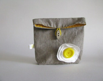 marigold linen pouch - gift for her - travel pouch - toiletry pouch - linen and yellow pouch - foldover pouch - button pouch - gift for her