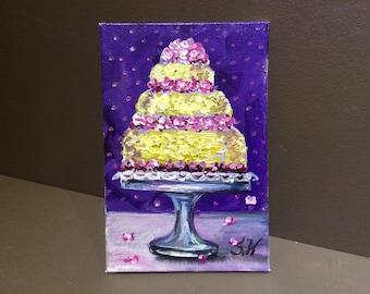 "Cake painting Lemon Straberry cake painting kitchen  art 4 x 6 """