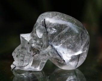 "CUTE 1.3"" Natural Black Rutilated Quartz Carved Crystal Skull 0.71 OZ C0577"