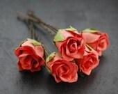 Hair Pins, Coral Pink Rosebuds, Bridal, Flower Girl, Wedding, Hair Accessory, Nature