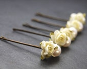 Bobby Pins, Pearl and Rose, Wedding, Bridal, Flower Girl, Hair Accessory
