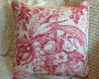 Birds PILLOW COVER pink and off white romantic bird/garden theme polished cotton