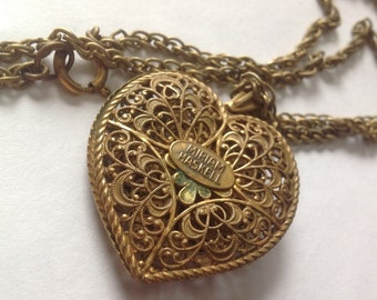 Miriam Haskell vintage filigree heart pendant with chain   VJSE