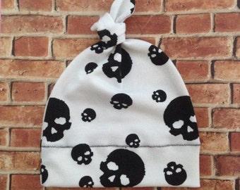 WHITE with Black Skulls - Punk Baby Skull Knit Hat - Baby Beanie